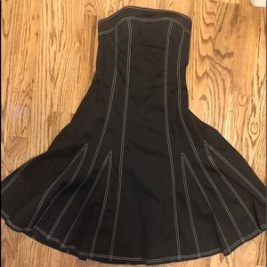 WHBM Strapless black dress with white stitching